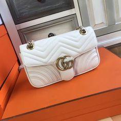 Gucci 2017 GG Marmont matelassé shoulder bag White