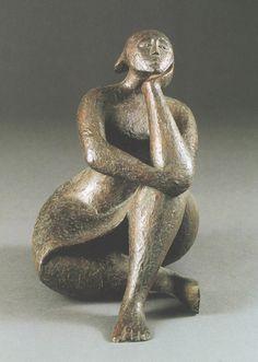 pensive figure by elizabeth catlett -