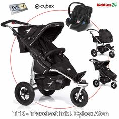 TFK Joggster Twist Facelift Travel Set incl. Cybex Aton - CARBO SCHWARZ (BLACK) - 2012 Baby Jogger, Joggers, Baby Strollers, Children, Travel Set, Black, Style, Gift, Kids Booster Seat