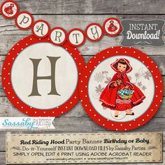 Little Red Riding Hood Party Banner - INSTANT DOWNLOAD - Editable  & Printable Birthday Decorations, Decor, Bunting by Sassaby Parties #littleredridinghood #banner