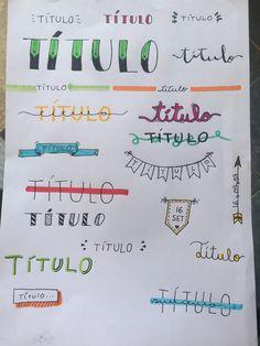 títulos para resumos - letras bonitas Bullet Journal Lettering, Bullet Journal Titles, Bullet Journal Inspiration, Lettering Tutorial, Cute Notes, Creative Fonts, Decorate Notebook, Study Notes, School