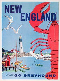 DP Vintage Posters - New England Go Greyhound Original Bus Travel Poster