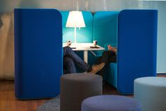 The Podmeeting unit by Martela offers a quiet, private space perfect for group meetings or collaborative work. The modern, airy design can be customised with different features, like a whiteboard or power outlet, and upholstered in a range of colours. | Creating Happy Offices | Sound Proof Acoustic Phone Booths, Mid-Century and Contemporary Office Design and Furniture | Framery UK & Office Blueprint