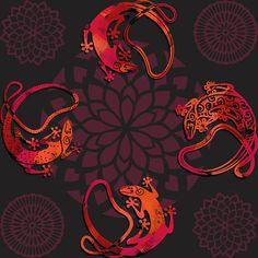 Sensuous Lizards - Decorative & textile print design.