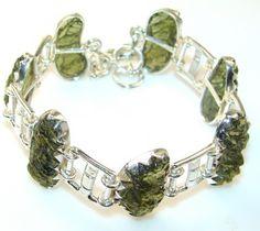 Ilusion Floral Moldavite Sterling Silver Bracelet