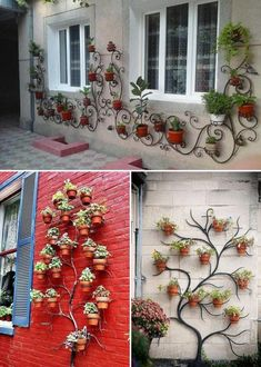 Creative Display Your Planters on The Wall Ideas – Pflanzideen House Plants Decor, Plant Decor, Garden Wall Art, Walled Garden, Small Garden Design, Balcony Garden, Garden Trellis, Image House, Garden Projects