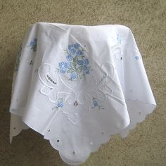 VTG White Tablecloth Cotton Embroidery Lace Classic by DILMA, $36.00