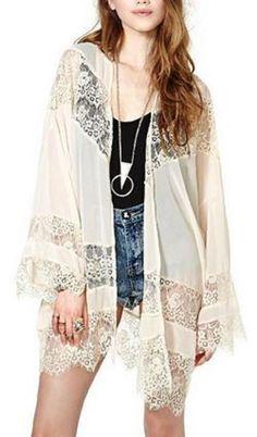 So Pretty! Love Bohemian Style Lace! Boho Chic Long Sleeves White Lace Spliced Sheer Chiffon Kimono