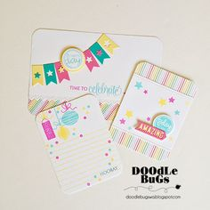 Spotted and admired: Some awesome pocket page cards by Doodlebugs. Some Technique Tuesday stamps and steel dies were used to make them. We LOVE them, Doodlebugs!