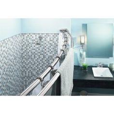 Moen Curved Shower Curtain Rod - Double Bar Chrome, 60 Inch, Towel Rail, Steel