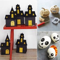 Martha Stewart's Halloween Ideas + Crafts: Martha Stewart's Halloween Ideas + Crafts board is undoubtedly a must-see for holiday crafts. Full of Martha's own ideas for vampire pumpkins, skeleton egg favors, DIY haunted houses, and so much more, this board is sure to inspire . . . and lead you directly to Martha's website for specific instructions on how to complete each project, many of which include printable templates.