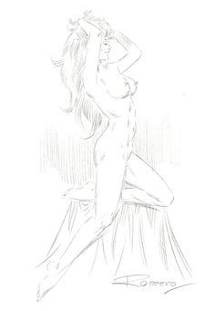 Romero, Enrique Badia - Original Pencil Drawing - Nude Axa - W.B.