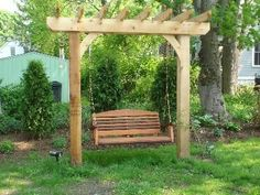 small pergola to hold a swing | glorious garden swing in Barrington, RI - Design Features Photo ...
