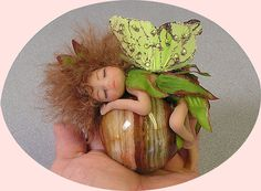 Fairy Angel sprite miniature polymer clay by FantasiaCreations, $75.00 SOLD
