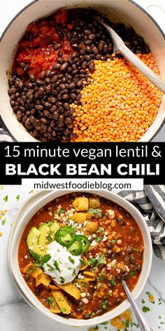 I'm here to let you in on a little secret…healthy food can also be hearty and satisfying! TRY THIS VEGAN BLACK BEAN CHILI! It's loaded with over of your daily fiber in each servi Chili Recipes, Veggie Recipes, Soup Recipes, Whole Food Recipes, Veggie Food, Meatball Recipes, Diet Recipes, Vegan Dinner Recipes, Vegetarian Recipes