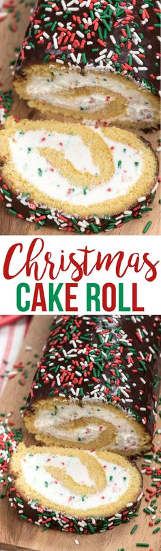 Make this Christmas Cake Roll for the perfect holiday dessert! A yellow cake roll filled with cream cheese whipped cream and sprinkles perfect for Christmas! via @crazyforcrust