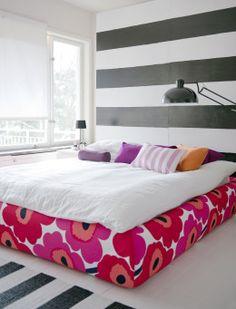 Grimen Bed Frame Cover in Marimekko Unniko Red By Bemz