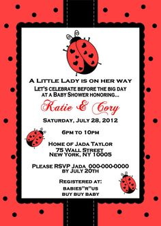 garden theme baby shower Ladybug Baby Shower Invitations And