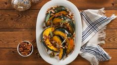 A maple and pecan sweetens seasonal squash for a side dish that will perfectly complement your holiday feast.