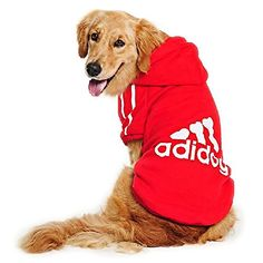 Eastlion Large Dog Warm Hoodies Coat Clothes Sweater Pet Puppy T Shirt Red 9XL -- Visit the image link more details.