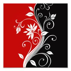 Shop Red White & Black Floral Tile created by Lasting__Impressions. Creative Wall Painting, Wall Painting Decor, Wall Art, Glass Painting Designs, Paint Designs, Window Glass Design, Red And Black Background, Floral Wall, Stencil