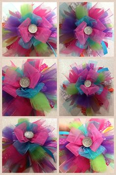 Rainbow Funky Over the top Hairbow Ribbon Hair Bows, Diy Hair Bows, Bow Hair Clips, Diy Flowers, Fabric Flowers, How To Make A Ribbon Bow, Barrette, Bow Tutorial, Making Hair Bows