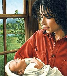 Michael Jackson With Child by Helena Kadlcikova