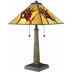 Serena d'italia Tiffany-style Floral Mission Table Lamp (Tiffany Style Floral Mission Table Lamp), Beige (Bronze)