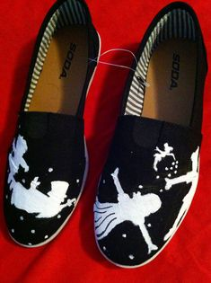 Custom hand painted acrylic canvas womens shoes Peter Pan on Etsy, $65.00