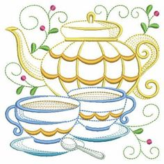 Tea Time Blocks 2, 11 - 3 Sizes! Dish Towel Embroidery, Embroidered Towels, Machine Embroidery Patterns, Embroidery Applique, Simple Embroidery, Quilling Patterns, Vintage Quilts, Tea Time, Sewing Projects