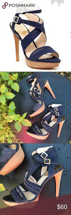 Vince Camuto Jistil Navy Blue Heels These Vince Camuto Heels have been worn once or twice. Classic Vince Camuto— WELL MADE! Beautiful wrap around buckle straps in navy blue! Easy to walk in! Open to offers, bundle to save! 💕 Vince Camuto Shoes Heels
