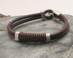 FREE SHIPPING Father' day Men's leather bracelet. por eliziatelye                                                                                                                                                                                 Más