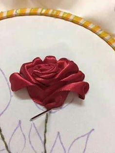Wonderful Ribbon Embroidery Flowers by Hand Ideas. Enchanting Ribbon Embroidery Flowers by Hand Ideas. Embroidery Designs, Ribbon Embroidery Tutorial, Rose Embroidery, Silk Ribbon Embroidery, Embroidery Patterns, Embroidery Stitches, Embroidery Supplies, Embroidery Tattoo, Ribbon Art