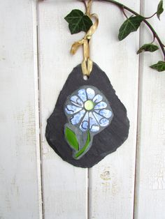 Rustic Home Decor ~ Mosaic Flower ~ Blue and Gold Flower ~ Shabby Chic Decor ~ Garden Art ~ Mothers Day Gift ~ Recycled Mosaic Art on Slate by RecycleMeMosaics on Etsy
