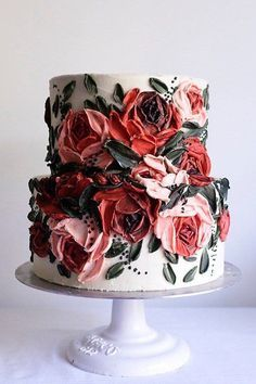 As we prepare to close out the year, we wanted to add to the sugar rush with some winter wedding cakes that are as sweet as your favorite Christmas pie. We are blown away year after year over the shee Gorgeous Cakes, Pretty Cakes, Cute Cakes, Amazing Cakes, Wedding Cake Designs, Wedding Cakes, Pretty Birthday Cakes, Fancy Cakes, Pink Cakes