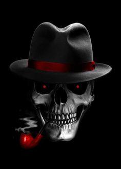 skull smoke mafia killer red eyes skeleton unique illustration digital art design hat horror death villain scary