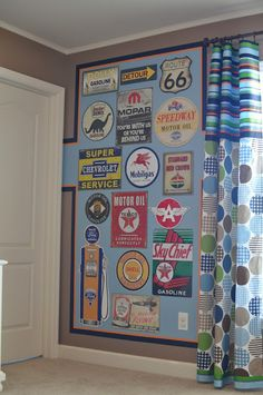 boys rooms - These curtains!! The wall motif is a neat idea whether it's road signs or whatever!