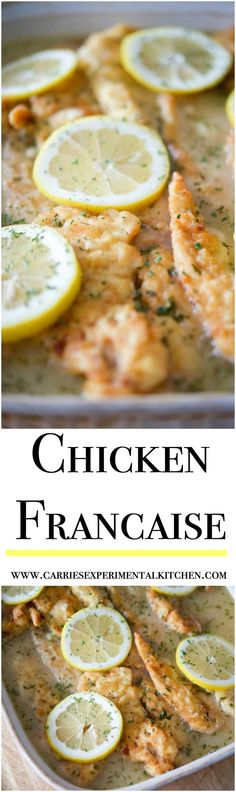 Chicken Francaise - tender chicken in a light, lemony sauce is the perfect meal to feed a crowd. Make extra sauce, it's that good! Turkey Recipes, Meat Recipes, Dinner Recipes, Cooking Recipes, Drink Recipes, Food Dishes, Main Dishes, Chicken Tenderloins, Feeding A Crowd