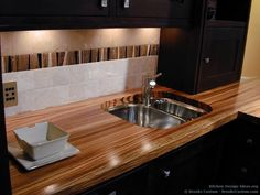 #Kitchen Photo by Brooks Custom. Zebrawood countertops.