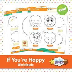 "Practice basic emotions with these free worksheets to go with the Super Simple Song, ""If You're Happy. Happy Emotions, Feelings And Emotions, Teaching Tools, Teaching Kids, Body Parts Theme, Monster Songs, Fun Songs For Kids, Teaching Emotions, Kids Therapy"