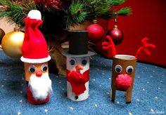 Prace plastyczne - Kolorowe kredki: Mikołaj, bałwan i renifer z rolek po papierze toaletowym