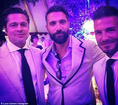 Actor Luca Calvani (cenrre) shared this picture of him with Brad Pitt and David Beckham at...