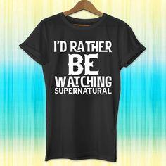 supernatural, Id rather be watching supernatural, supernatural shirt,... ($19) ❤ liked on Polyvore featuring tops, t-shirts, tees, shirt tops, graphic print t shirts, birthday shirts, collared shirt and birthday tee