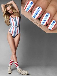 CHIC NAILS l patriotic l Candice Swanepoel http://www.missladyfinger.com/post/manicure-muse-candice-swanepoel-for-vogue-australia-june-13/