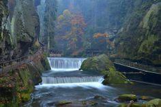 Edmund´s gorge in Bohemian Switzerland, Czechia Visit Prague, Beautiful Places In The World, Central Europe, Natural Wonders, Nature Photos, Czech Republic, Switzerland, Waterfall, Landscape