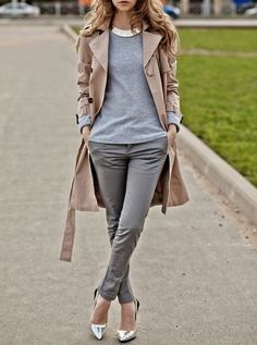 shades of grey and a pop of silver // #neutral #streetstyle #fall