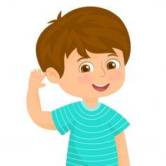 Little boy in a listening gesture Premiu. Kids Vector, Vector Hand, Cartoon Ears, Abacus Math, Islamic Cartoon, Medical Art, Kid Character, School Decorations, Preschool Activities