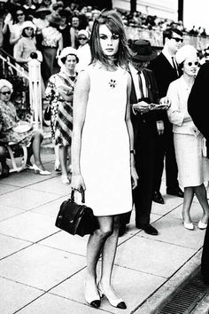 "Jean Shrimpton caused shockwaves by turning up to the 1965 Melbourne Cup in a ""mini"" and without a hat and stockings!"