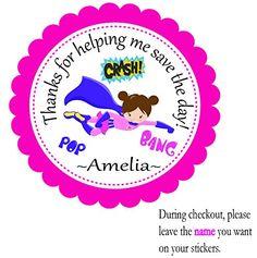 Super Hero Brown Hair Girl Flying2 --Set of 12 Personalized Custom Birthday Party Stickers-Favor Gift 2.5 Round Tag BeautyAndBrainsGirls http://www.amazon.com/dp/B013EIUT5U/ref=cm_sw_r_pi_dp_TDs7wb0905A25