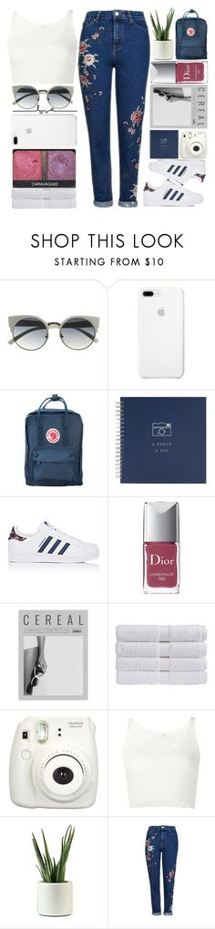 """collab with Abby and Via"" by ginga-ninja ❤ liked on Polyvore featuring Branca, Fjällräven, adidas, Christian Dior, NARS Cosmetics, Christy, Fujifilm, 321 and Topshop"